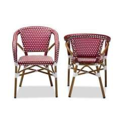 Bamboo Dining Chair Desk Platform Chairs Kitchen Room Furniture The Home Eliane Red And White Set Of 2