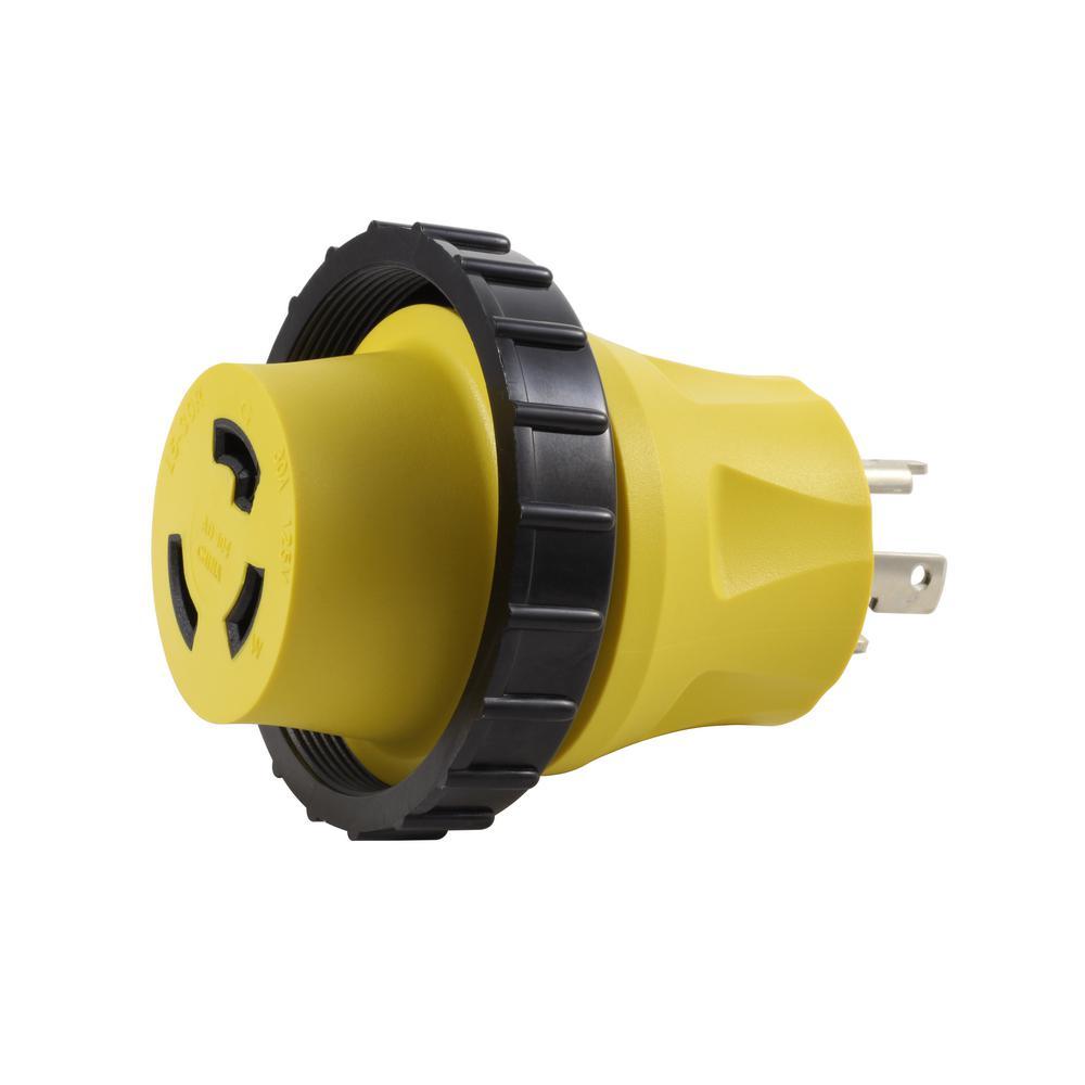 medium resolution of ac works ac connectors rv marine adapter 30 amp 3 prong locking plug to