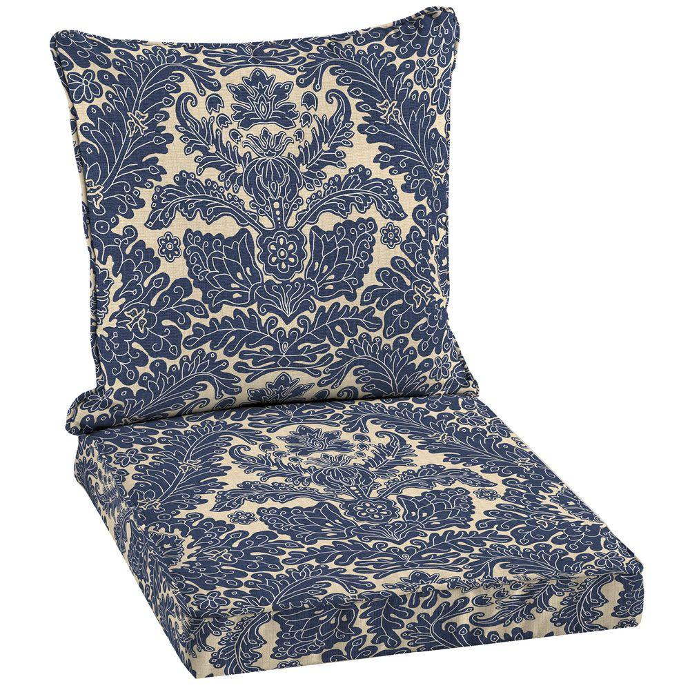 Damask Dining Chair Hampton Bay 21 X 21 Outdoor Chair Cushion In Standard Chelsea Damask