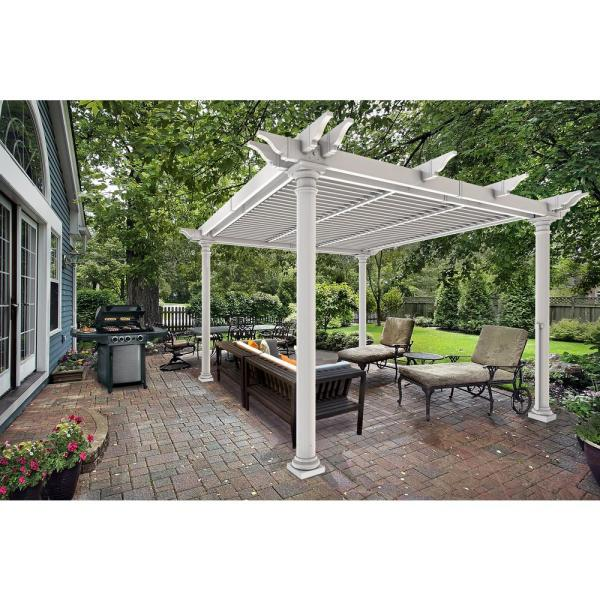 England Arbors Preston 10 Ft. X White Vinyl Louvered Pergola With Posts-va42093