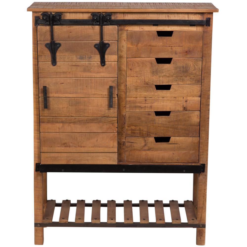 Barn Door Brown Traditional Sliding Door Cabinet0511431