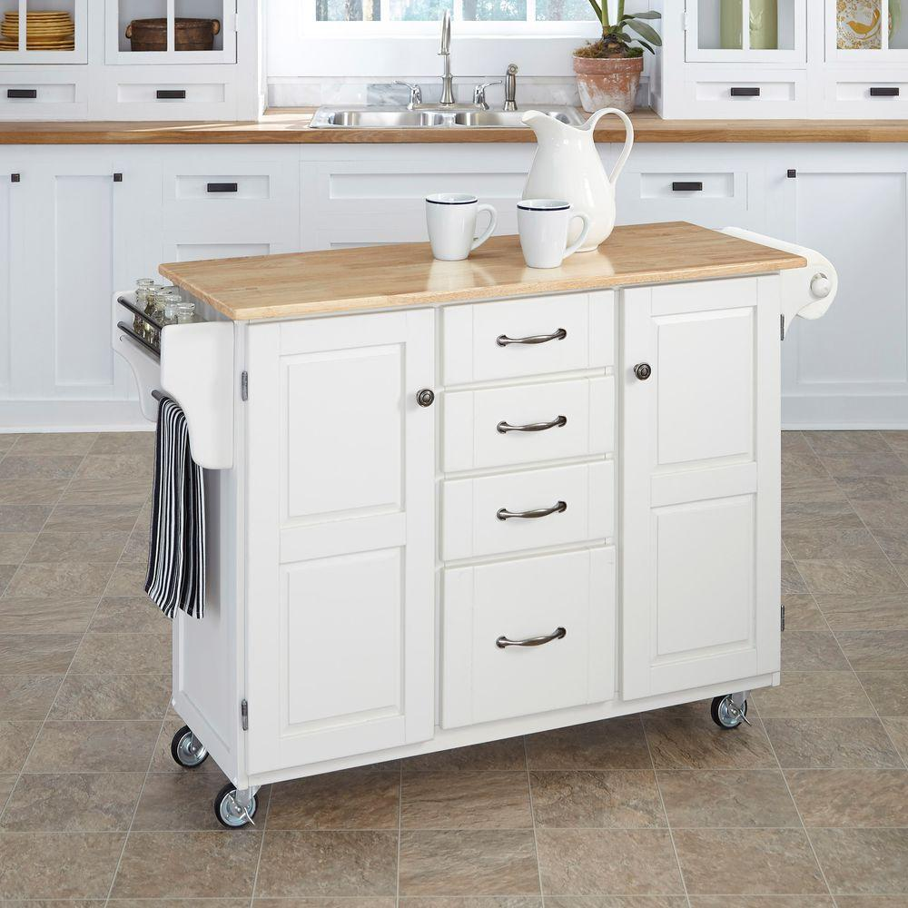 home styles kitchen cart shelf organizers create a white with natural wood top