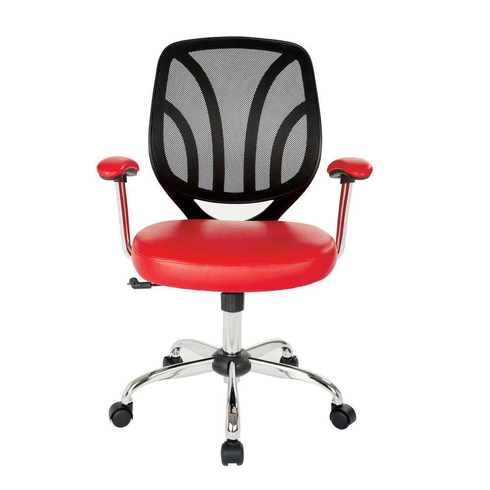 red desk chair no wheels white wingback work smart faux leather screen back with chrome padded arms and dual wheel carpet casters