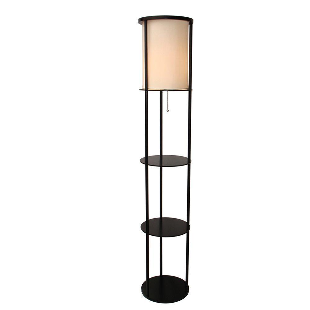 Adesso Stewart Shelf Black Floor Lamp 311701 Round Real
