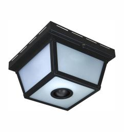 hampton bay 360 square 4 light black motion sensing outdoor flush mount [ 1000 x 1000 Pixel ]