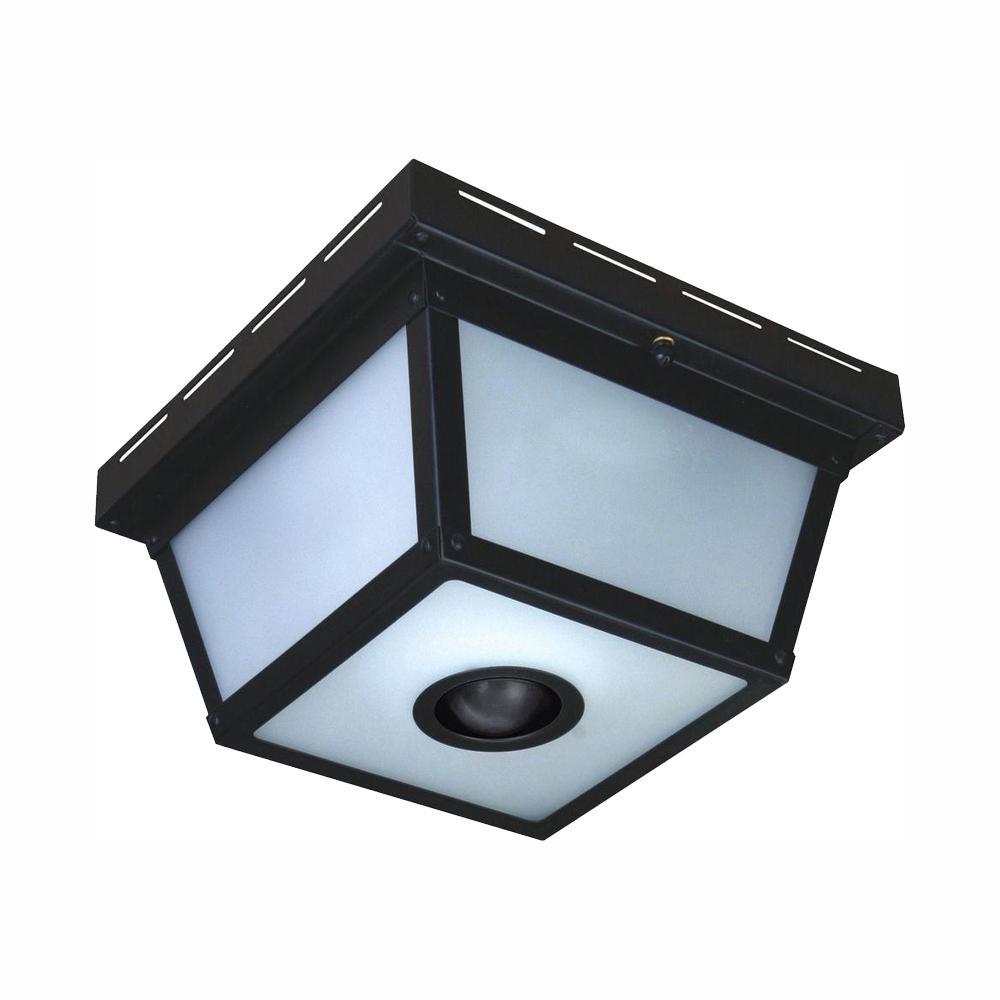 medium resolution of hampton bay 360 square 4 light black motion sensing outdoor flush mount
