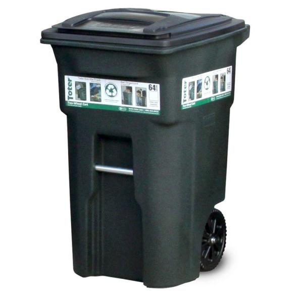 Toter 64 Gal Green Trash Can with Wheels and Attached Lid