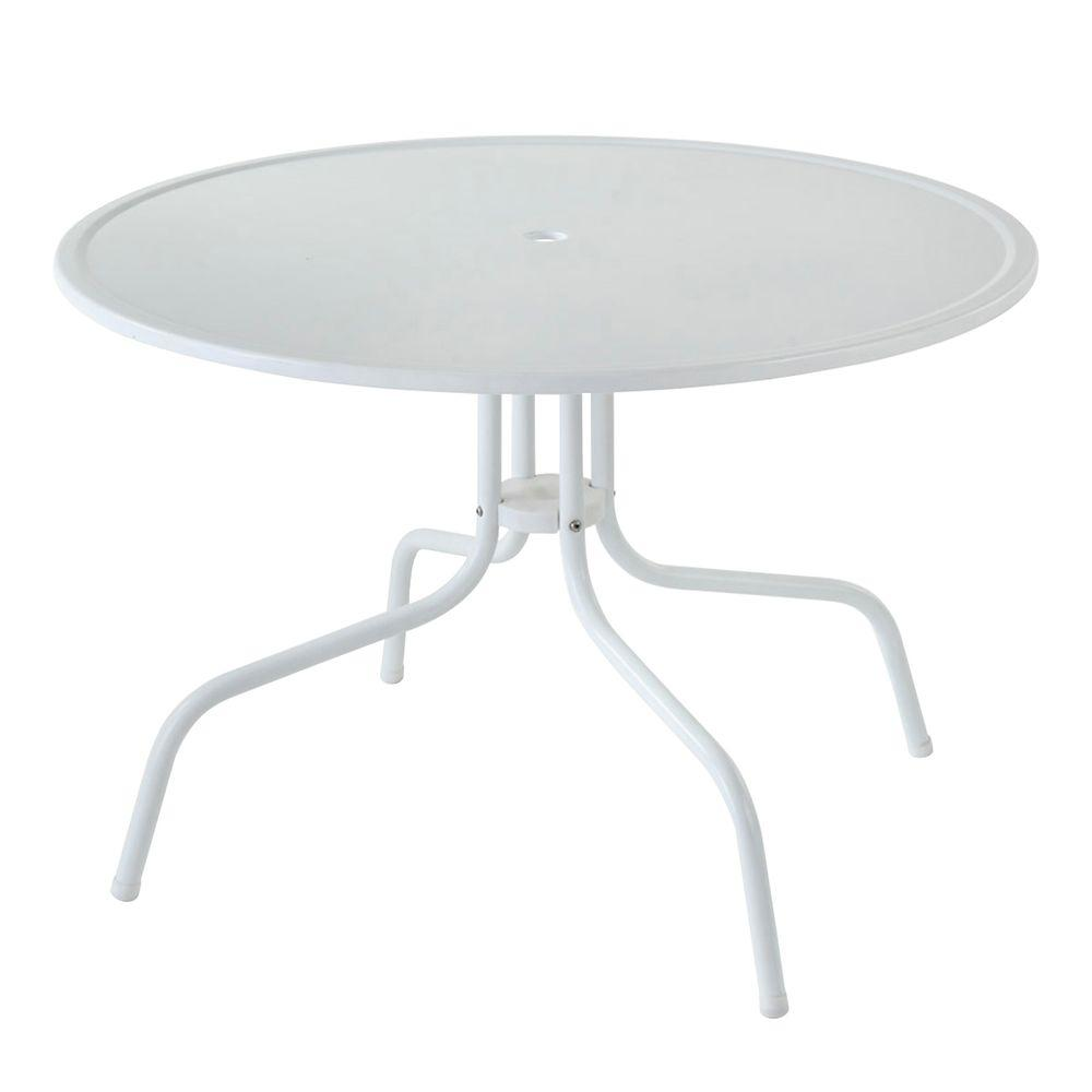 Crosley Griffith White Metal Patio Dining TableCO1012AWH