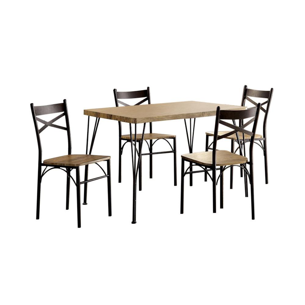 industrial style dining chairs unique office chair designs benzara brown wood and metal 5 piece table