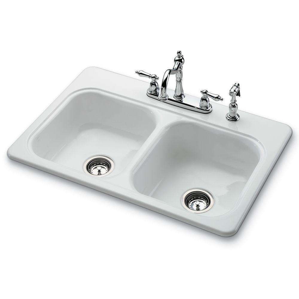 porcelain kitchen sink decorating ideas on a budget bootz industries garnet ii drop in 22 4 hole self rimming double basin white