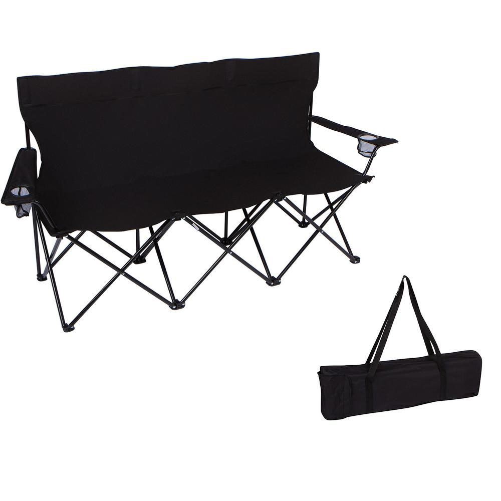 home depot camping chairs for tweens trademark innovations 65 in triple style black tri camp chair with steel frame and carry