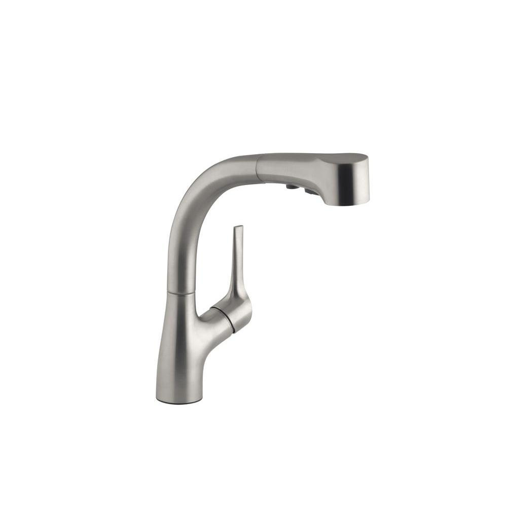 kohler kitchen sink faucets renovated ideas elate single handle pull out sprayer faucet in vibrant stainless