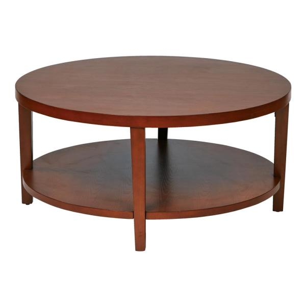 merge 36 in cherry medium round wood coffee table with shelf