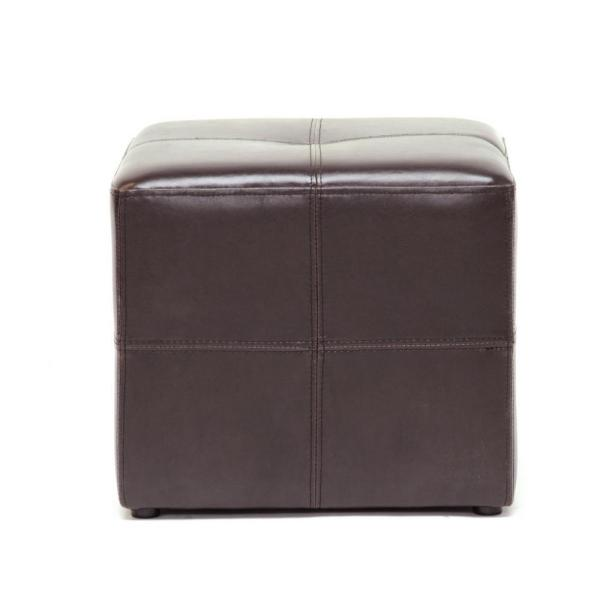 Leather Cube Ottoman Studio Nox Foot Stool Rest Pouf Office Home Furniture Brown 878445006501