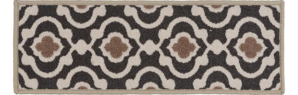 World Rug Gallery Moroccan Trellis Non Slip Stair Treads 8 6 X 26 | Decorative Non Slip Stair Treads | Stair Railing | Washable | Rugs | Dirt Proof | Rubber Backing