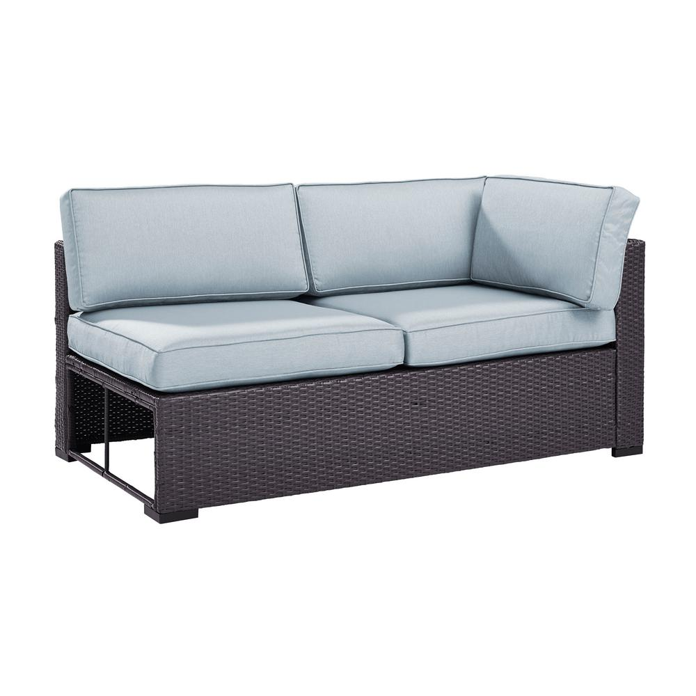 crosley furniture biscayne wicker interchangeable outdoor sectional loveseat with mist cushions ko70129br mi the home depot