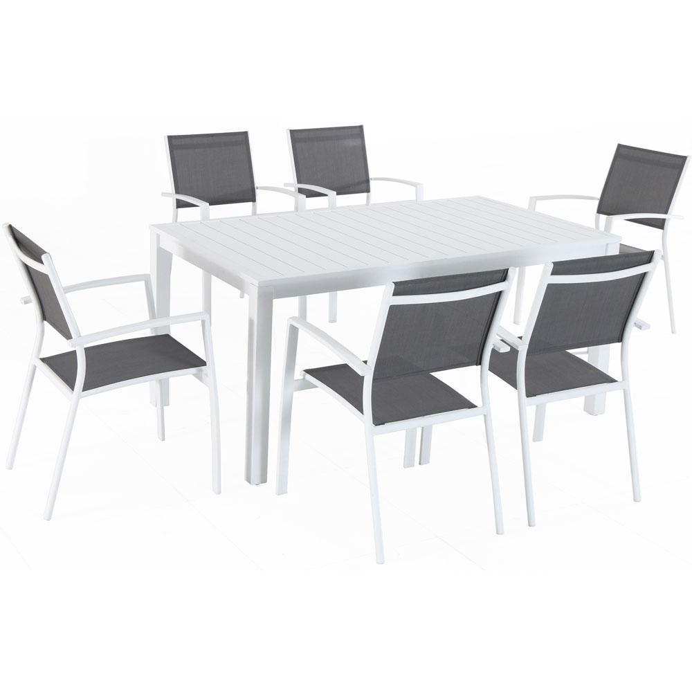 sling chair outdoor container store hanover del mar 7 piece aluminum dining set with 6 chairs in gray white and a 78 x 40 table