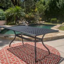 Noble House Cayman Black Sand Rectangle Aluminum Outdoor