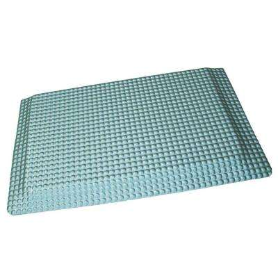 teal kitchen rugs cabinet stain colors 05 mats the home depot reflex double sponge glossy platinum raised domed surface 24 in x 36 vinyl