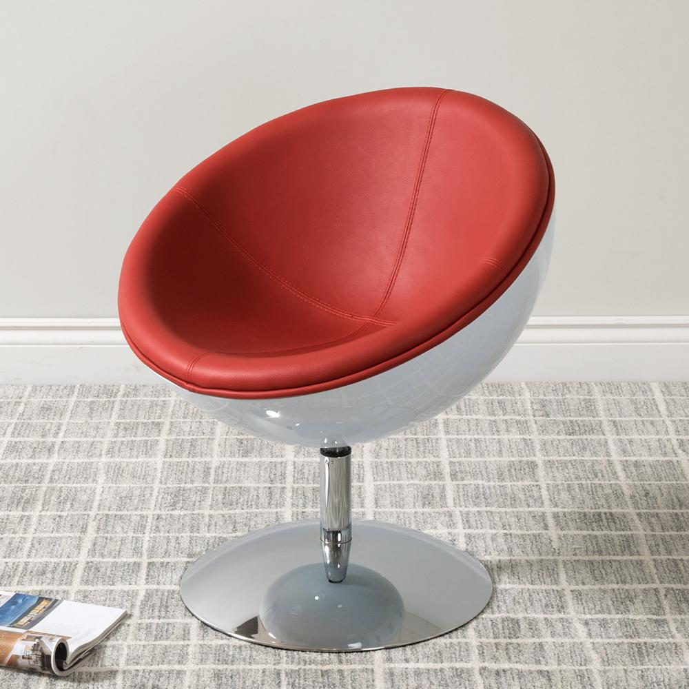 Red Leather Swivel Chair Corliving Mod Modern Red And White Bonded Leather Swivel Circular