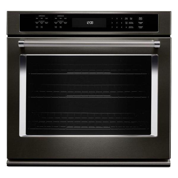 Kitchenaid 30 In. Single Electric Wall Oven -cleaning With Convection In Black Stainless