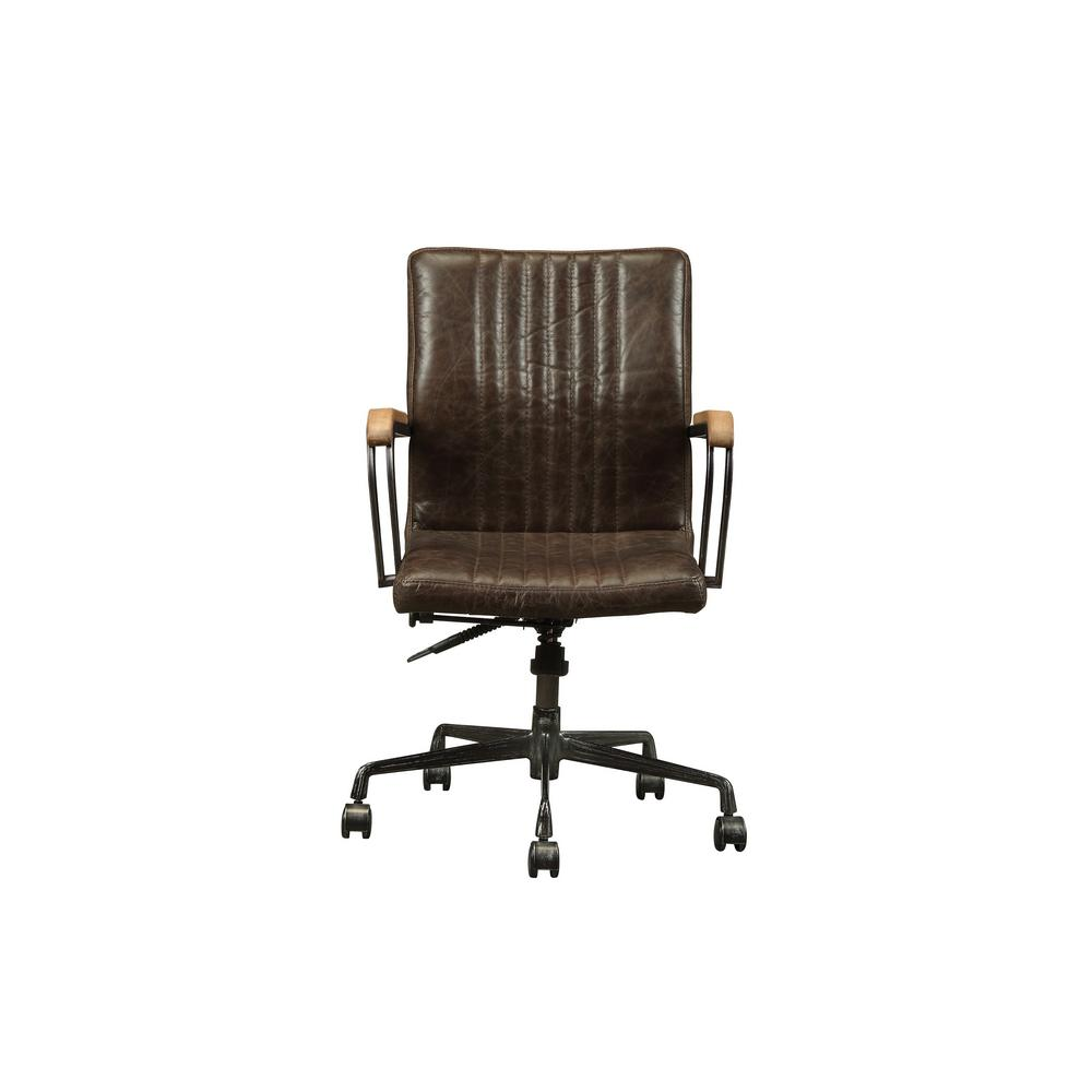 distressed leather desk chair living room and ottoman acme furniture joslin chocolate top grain executive office