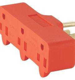 eaton 15 amp 125 volt 5 15 three outlet tap orange [ 1000 x 1000 Pixel ]