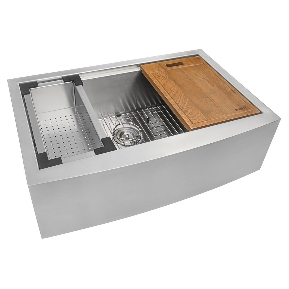 36 kitchen sink childrens play sets ruvati apron front stainless steel in 16 gauge workstation single bowl farmhouse