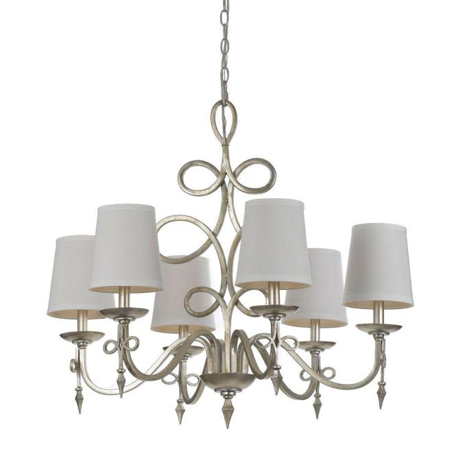 Af Lighting Rhythm 6 Light Iron Chandelier With Glint And White Shades