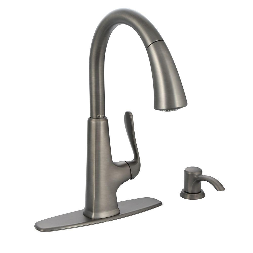slate kitchen faucet outdoor patio pfister pasadena single handle pull down sprayer with soap dispenser in
