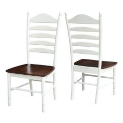 Ladderback Dining Chairs Outdoor Bar Chair Covers International Concepts Hampton Alabaster And Espresso Wood Ladder Back Set Of 2