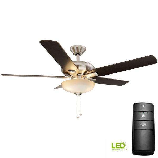 Hampton Bay Holly Springs 52 In. Led Bn Ceiling Fan With Light Kit And Remote Control-19976
