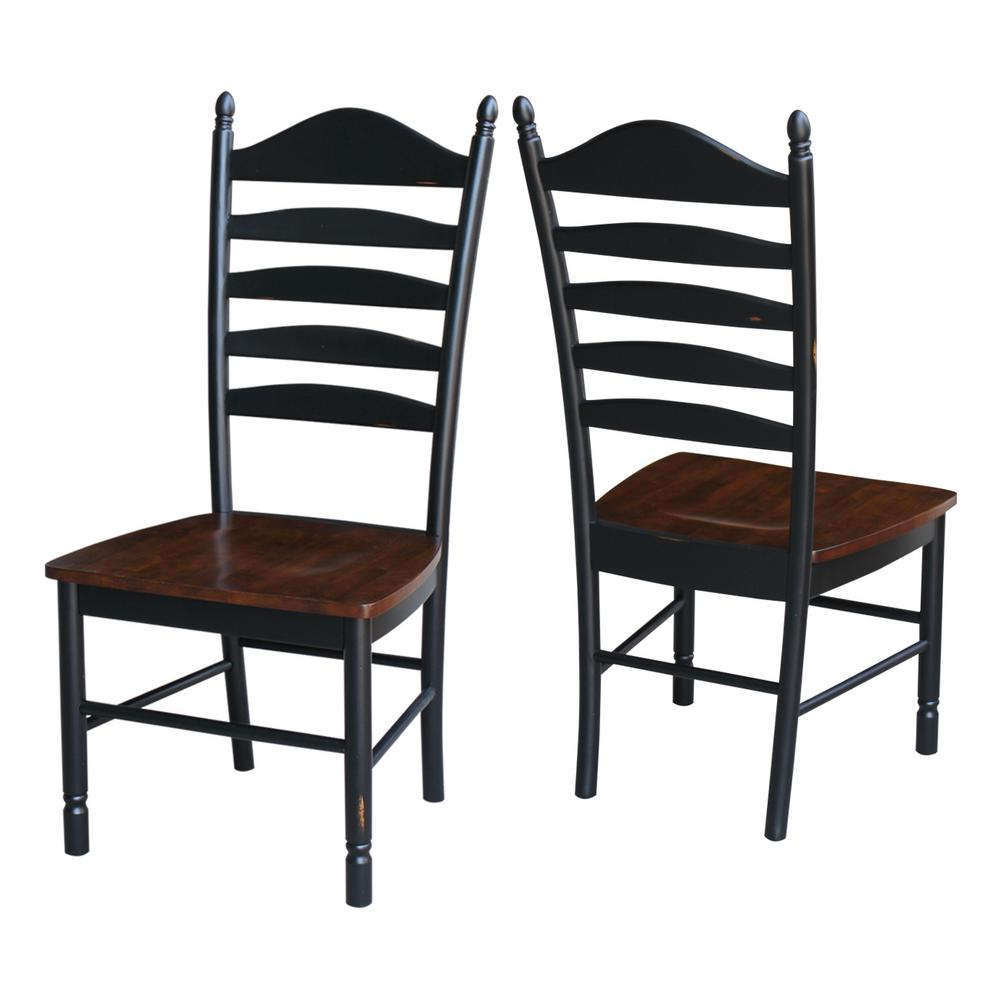 ladderback dining chairs swing chair white international concepts hampton aged ebony espresso wood ladder back set of 2 c36 271p the home depot