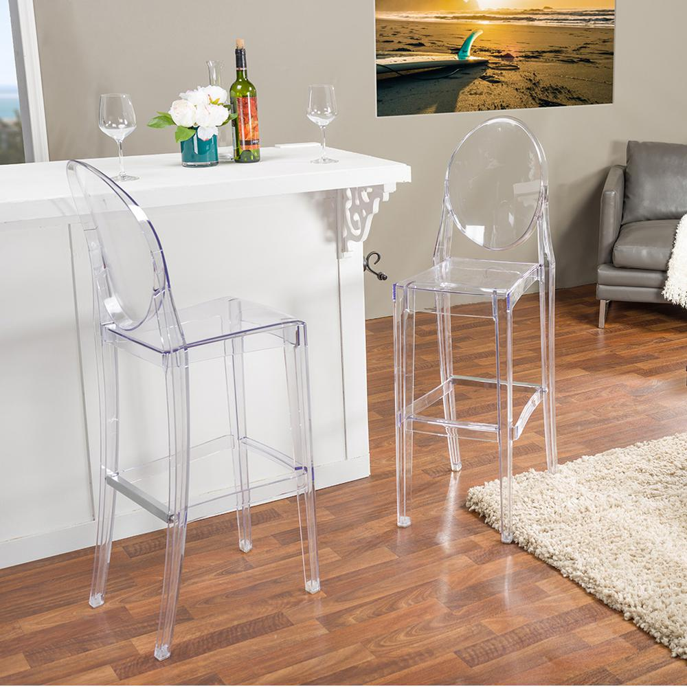 ghost chair bar stool inexpensive patio lounge chairs baxton studio alvie clear finished plastic 2-piece set-2pc-6144-hd - the home depot