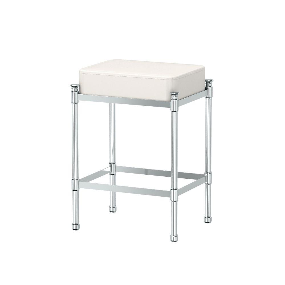 Vanity Chairs Gatco 14 25 In W X 19 5 In H Bath Vanity Stool In Chrome