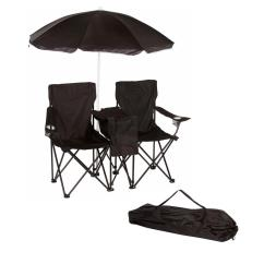 Folding Chair With Umbrella Oxo Tot Seedling High Reviews Trademark Innovations Black Double Camp And Beach Removable Cooler