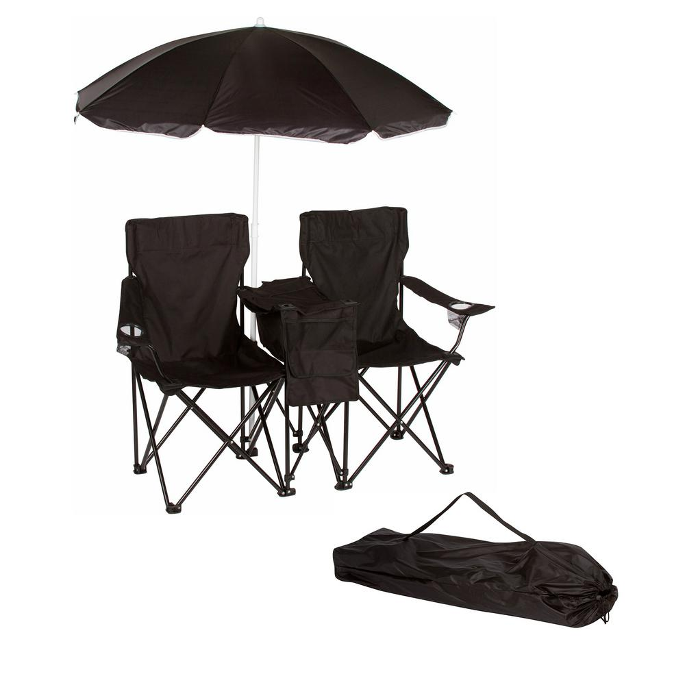 Chair With Umbrella Trademark Innovations Black Double Folding Camp And Beach Chair With Removable Umbrella And Cooler