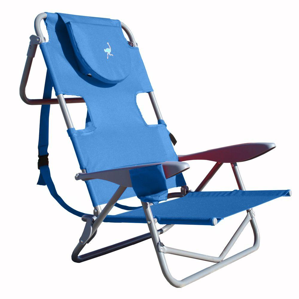 reclining beach chairs sure fit club chair slipcovers ostrich on your back patio oyb 1003b blue the home depot