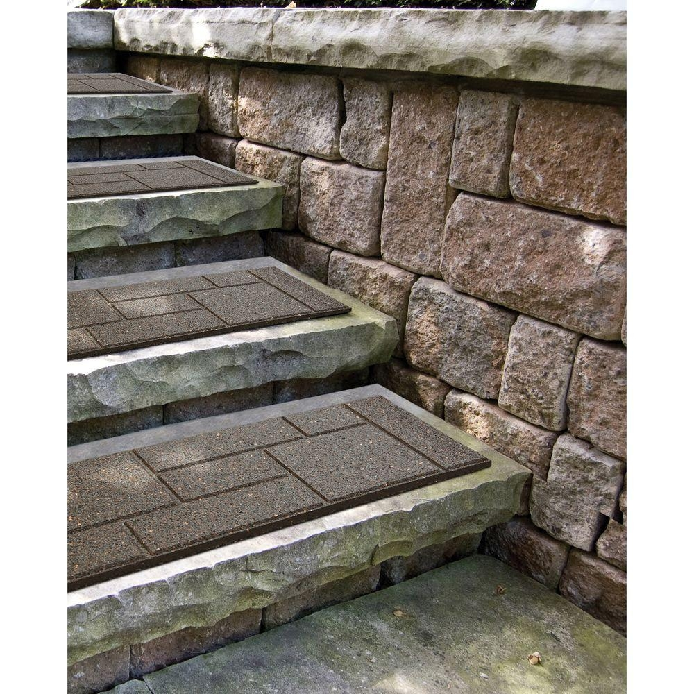 Envirotile Cobblestone 10 In X 24 In Earth Stair Tread 4 Pack | Outdoor Rubber Stair Treads Home Depot | Riser | Coin Grip | Rubber Cal | Stair Mats | Recycled Rubber
