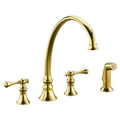 gold kitchen faucet cabinets crown molding brass faucets the home depot revival 2 handle standard in vibrant polished