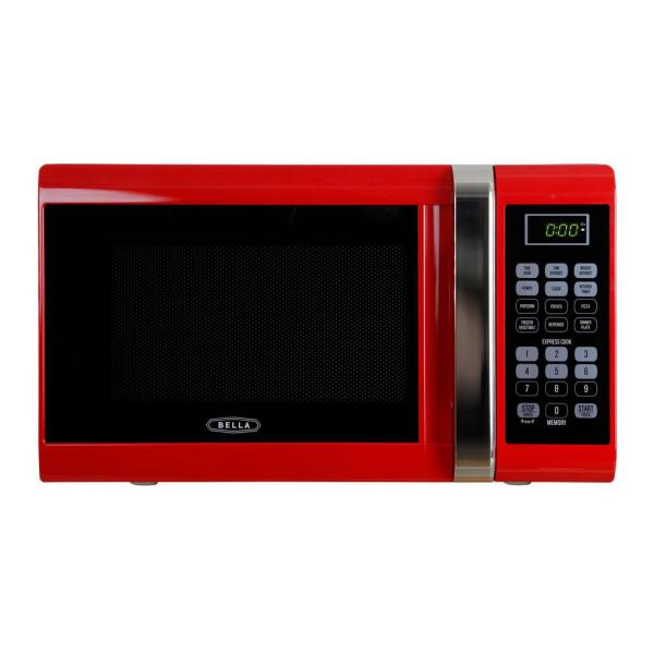 Bella 0.9 Cu. Ft. 900-watt Countertop Microwave Oven In Red With Chrome-04292 - Home Depot