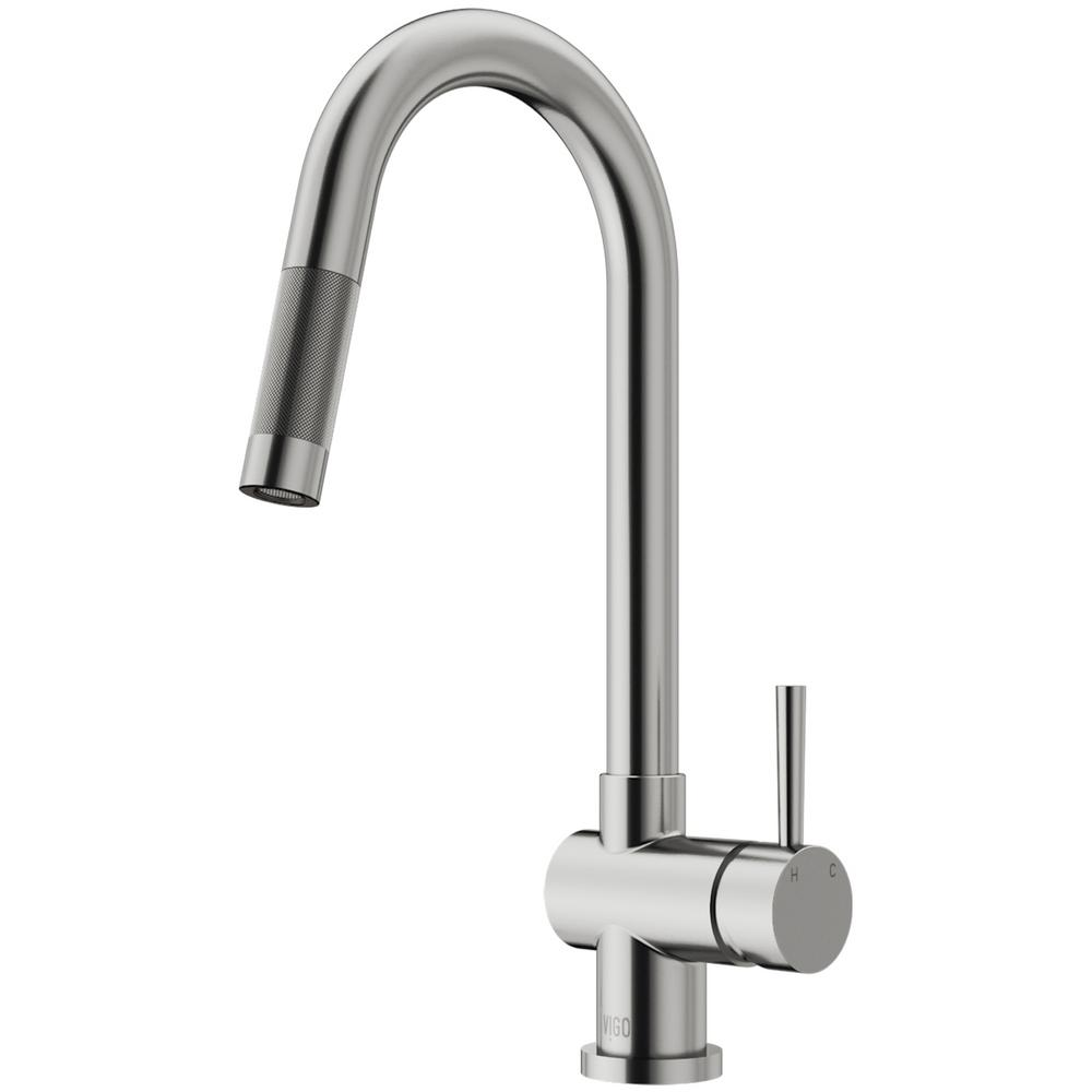 vigo kitchen faucet glass table gramercy single handle pull down sprayer in stainless steel