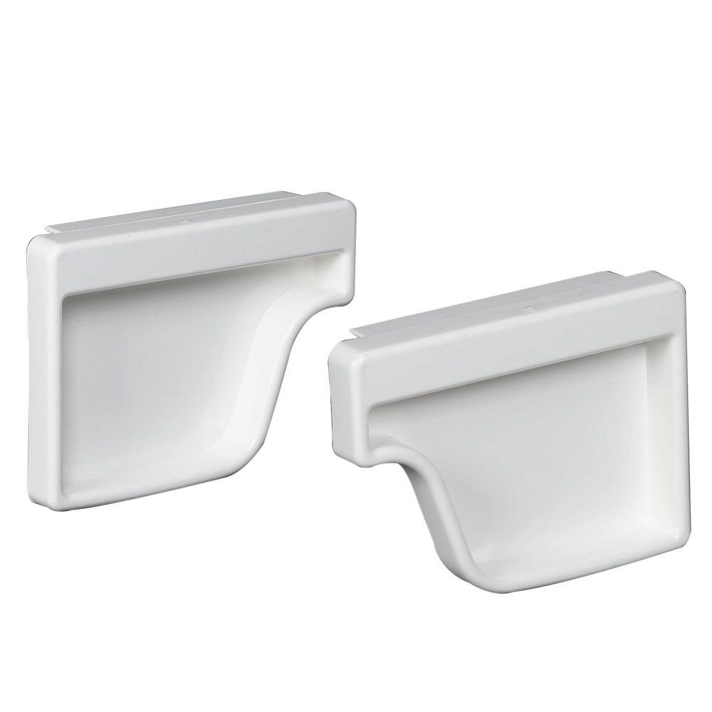 hight resolution of amerimax home products white vinyl k style end cap set