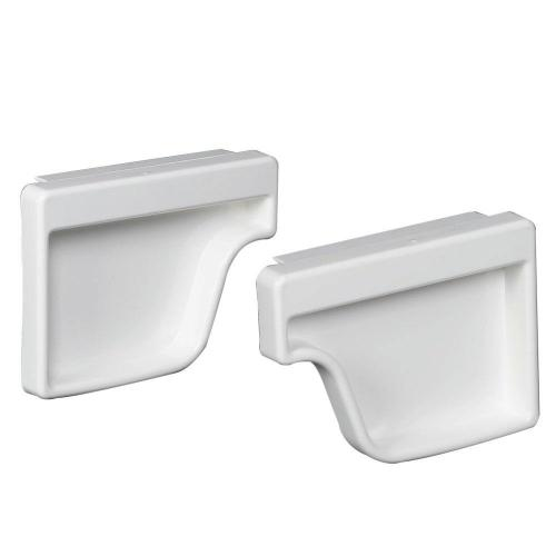 small resolution of amerimax home products white vinyl k style end cap set
