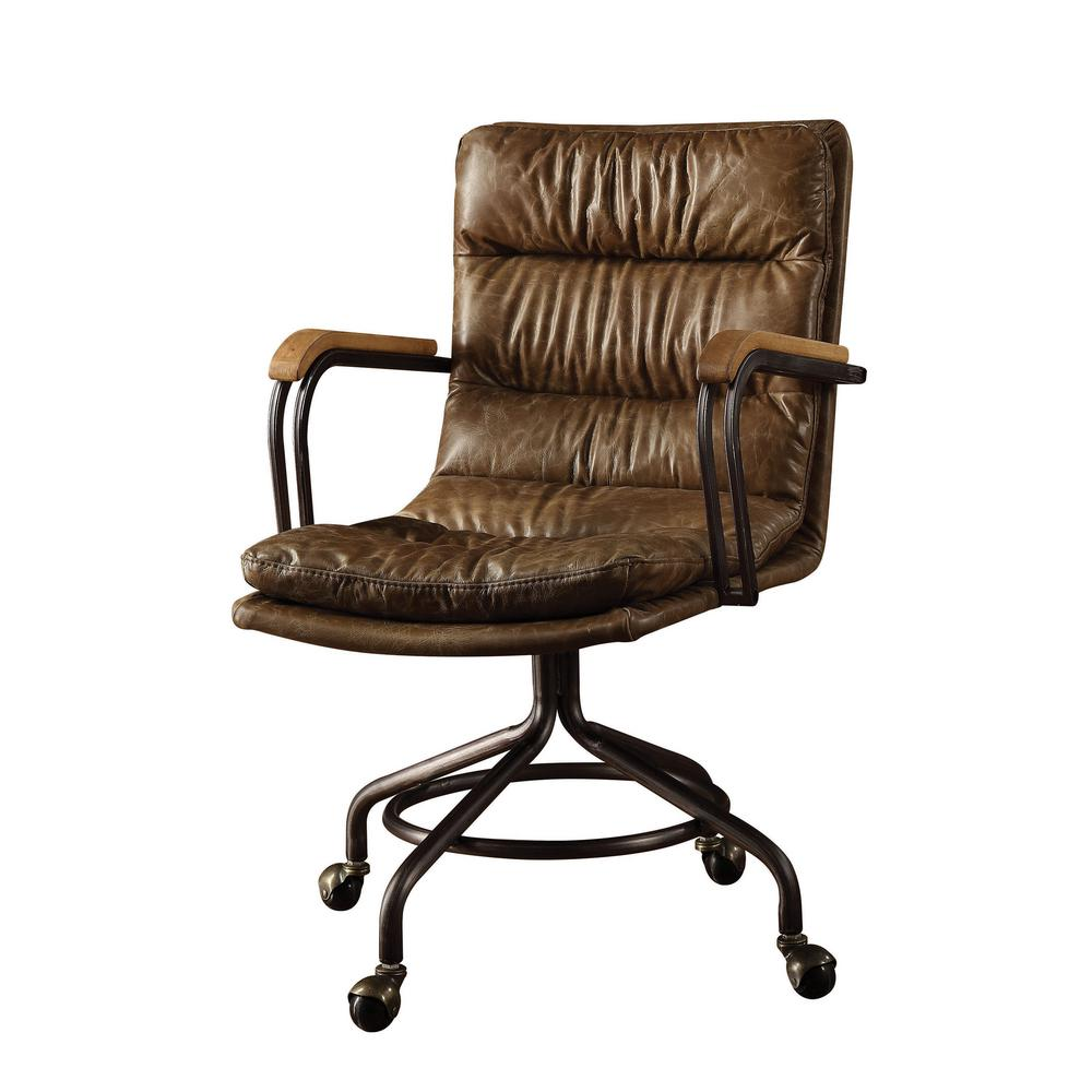 unique leather office chairs upholstered chair with nailhead trim acme furniture hedia vintage whiskey top grain