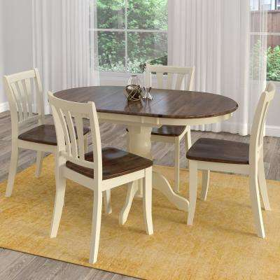 solid oak dining table and chairs outdoor chair covers lowes multi colored room sets kitchen furniture dillon 5 piece extendable dark brown cream wood set
