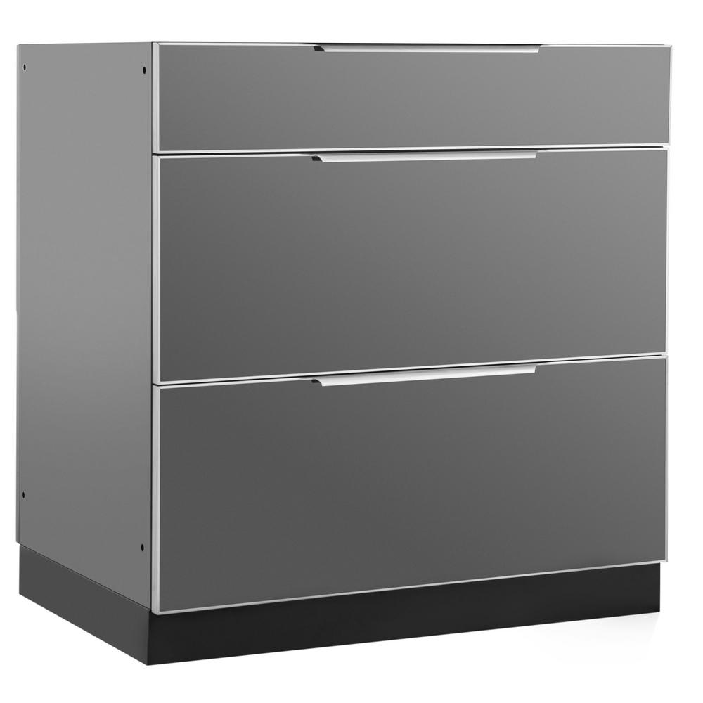 aluminum kitchen cabinets highest rated faucets newage products slate 32 in 3 drawer 32x33 5x23 outdoor cabinet
