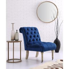 Grey Velvet Slipper Chair White Linen Slipcovered Dining Chairs Inspired Home Dolly Navy Armless With Button Tufting And Rolled Back