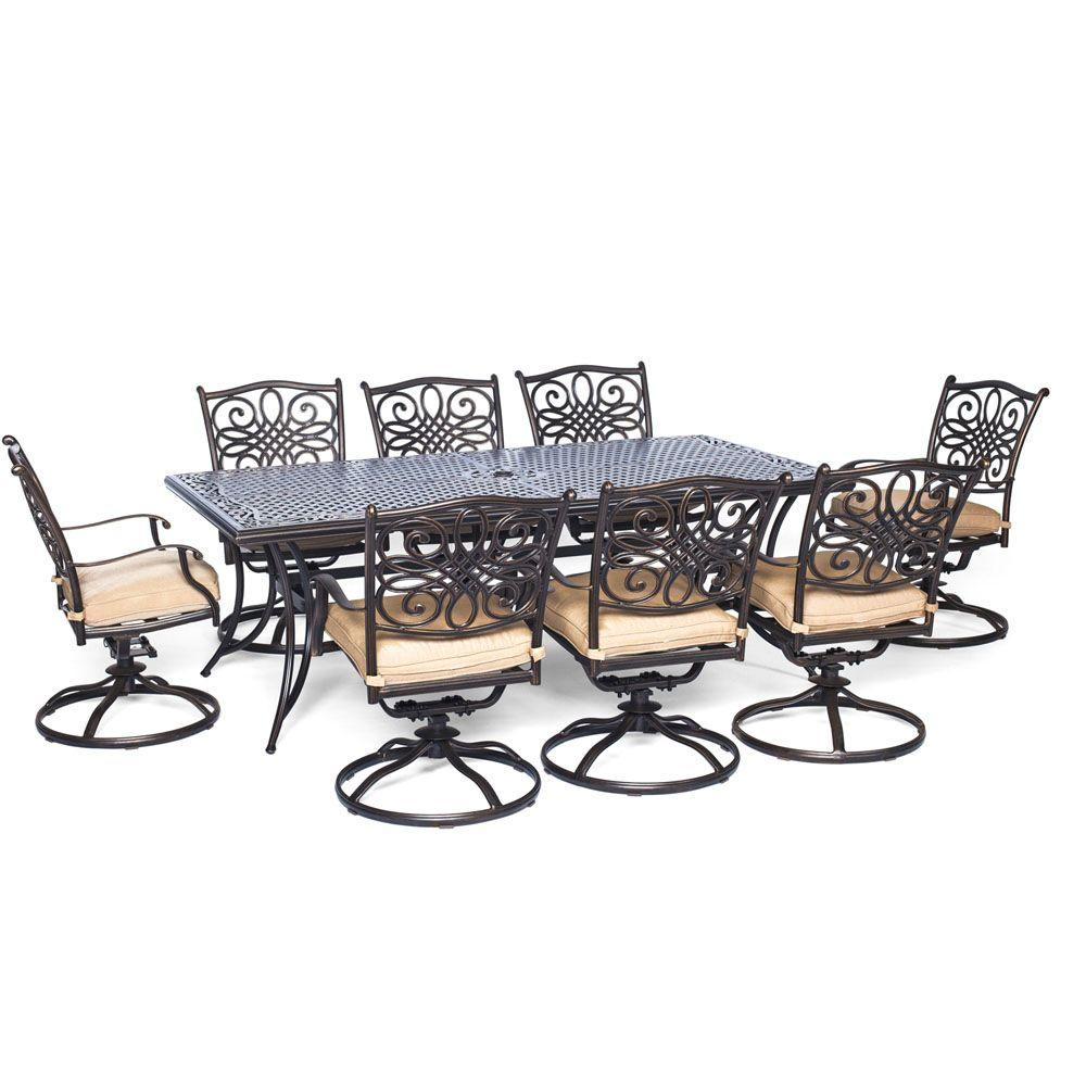 best outdoor dining chairs lazy boy lift for sale hanover traditions 9 piece aluminum rectangular patio set w eight swivel and natural oat cushions