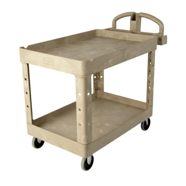 Rubbermaid Commercial Products Heavy Duty Beige 2-shelf Utility Cart With Lipped Shelf In Medium